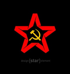 origami red star with socialist symbols on black vector image