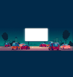 Outdoor cinema drive-in movie theater with cars vector