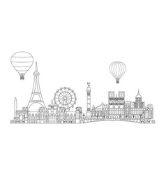 paris skyline line art 3 vector image