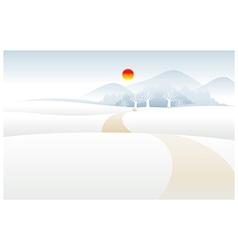 Path over Snow mountain landscape vector