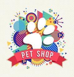 Pet shop icon animal paw with color shapes vector