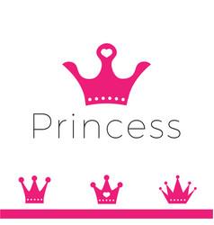 pink sign crown princess design modern logos vector image