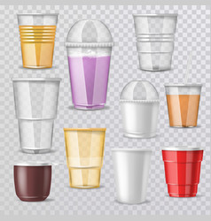 Plastic glass empty plastic-cup or blank vector