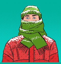 Pop art portrait of man in warm winter clothes vector