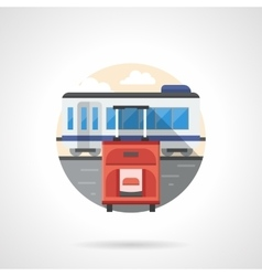 Red baggage on station color detailed icon vector image