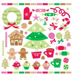 Retro christmas treats and sweets vector