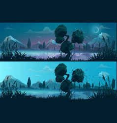 River or lake shore mountains night day landscape vector