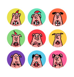Round shape stickers set funny pigs with candy vector