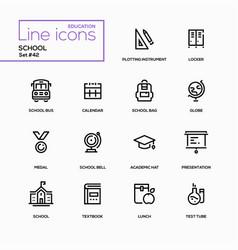 school concept - line design icons set vector image