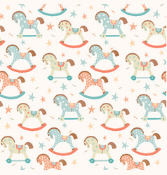 seamless kids baby rocking horse seamless pattern vector image