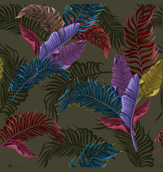 seamless pattern with colorful tropical leaves on vector image
