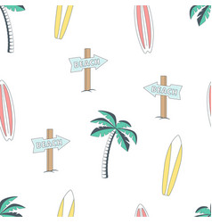 seamless pattern with surfboards and palm tree vector image