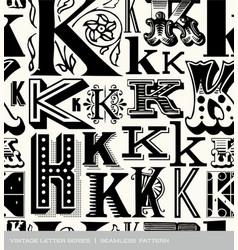 Seamless vintage pattern letter K vector