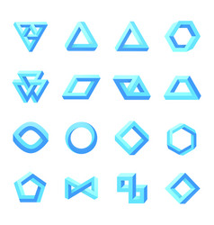 set impossible shapes optical isolated on vector image