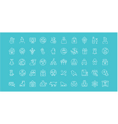 set line icons christmas vector image