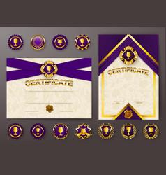 Set of elegant templates of certificate diploma vector