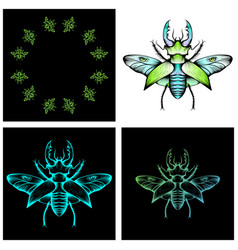 set of four stag beetle drawings vector image