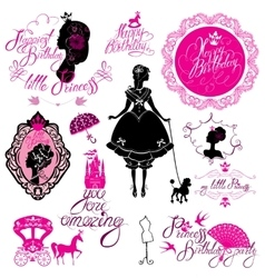 Set of glamour Princess castle carriage black vector