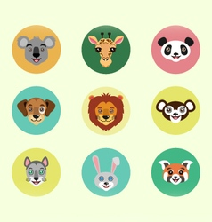 Set of happy cartoon animals vector