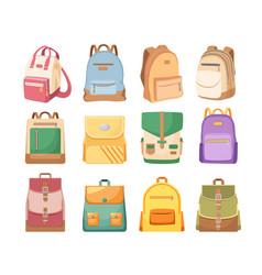 set of schoolbags kids school bags of bright vector image