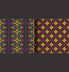 set of seamless ethnic patterns geometric design vector image