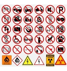 Set of Signs for Different Prohibited Activities vector