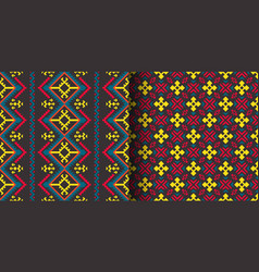 set seamless ethnic patterns geometric design vector image