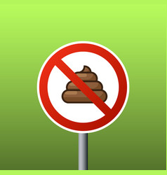 sign of walking of pets is prohibited no pooping vector image