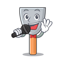 Singing cartoon putty knife in plaster vector