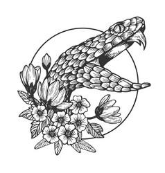 Snake head animal engraving vector