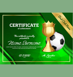 soccer certificate diploma with golden cup vector image