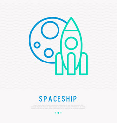 spaceship and moon thin line icon vector image
