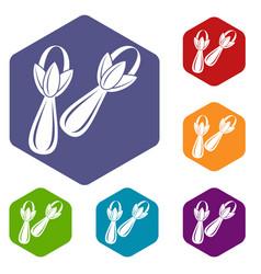 Spice cloves icons set hexagon vector
