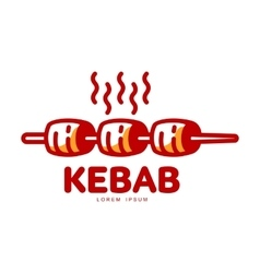 Stylized hot freshly grilled Turkish kebab logo vector image