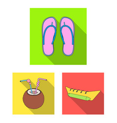 summer rest flat icons in set collection for vector image
