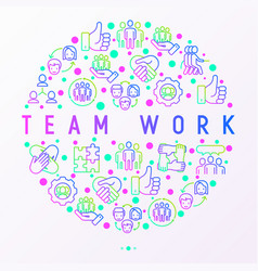 Teamwork concept in circle with thin line icons vector