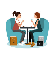 two happy girls sitting at cafe after shopping vector image
