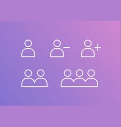 user profile group set icon symbol add remove vector image