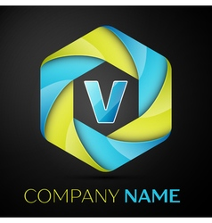 V Letter colorful logo in the hexagonal on black vector