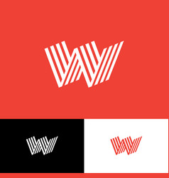 w logo monogram consist folded lines vector image