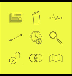 Web linear icon set simple outline icons vector