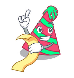 With menu party hat mascot cartoon vector
