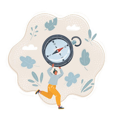 woman run with compass vector image