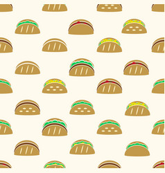 color tortilla tacos food icons seamless pattern vector image