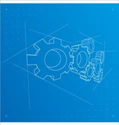 gears blueprint background vector image