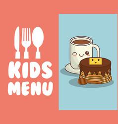kids menu restaurant breakfast nutrition vector image