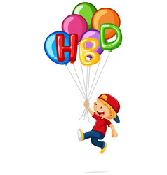 little boy and hbd on balloons vector image