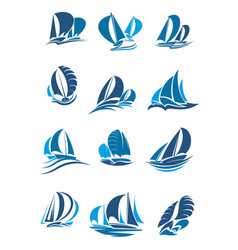sailboat yacht and sailing ship with wave icon vector image