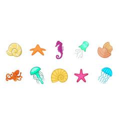 sea creature icon set cartoon style vector image