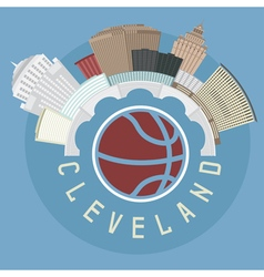 Cleveland Ohio Usa flat design with basketball vector image
